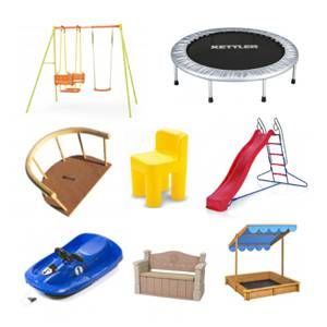 Velika izbira igrala za zunanjo uporabo kot so .Otroška zunanja igrala kot so trampolin in gugalnica.