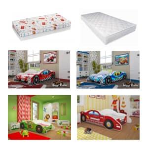 Otroška posteljica gasilski avto v različnih barvah.Otroška postelja gasilski avtomobil ugodno.