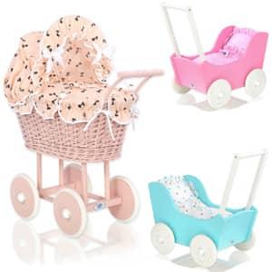 Leseni vozički za punčke kateri bodo zagotovo prepričali mlade navdušenke.Lesen voziček za otroke