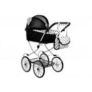 Globoki retro voziček Alice - črno-bel v pikicah + Torba-3823