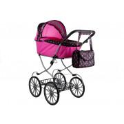 Globoki retro voziček Alice za lutke + torba - roza in črna v -3824