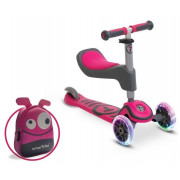 Trikolesnik Skiro Smart Trike Hulajnoga Scooter T1 +  Svetleča kolesa LED + Torba - Roza