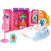 Garderobna soba za punčke + Ogledalo na baterijo za lutke v kovčku -7120