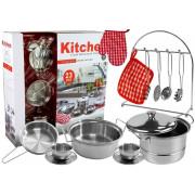 Set kuhinjskih pripomočkov , lonci, majhen kuhar, nerjaveče jeklo, 23 elementov -7530