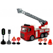 Kamion Gasilec  z lestvijo + dodatki-7582 - 28 cm x 10 cm x 18 cm
