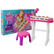 Klaviatura s stojalom Mikrofon + otroški stol  - roza  -7830