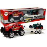 Komplet vozil - rdeči avto z prikolico + bager -8327
