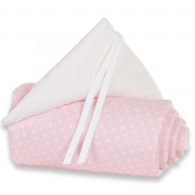 Obroba za Obposteljno Posteljico Babybay - Original Organic Cotton - Stars Light Rose/White - 100852