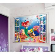 Stenske Nalepke za Otroke - Ariel Morska Deklica - ZY1424 - 50x70cm