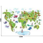 Stenske Nalepke za Otroke - Zemljevid Sveta 60x90 cm - ABC1001