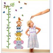 Stenske Nalepke za Otroke - Izmeri Koliko si Velik Živalice 60x90 cm - ABC1003