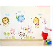 Stenske Nalepke za Otroke - Zabava z Živalmi 60x90 cm - ABC1015