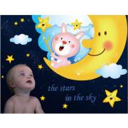 Stenske Nalepke za Otroke - Zajček na Lunici - AY9244 - 90x60cm