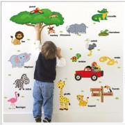 Stenske Nalepke za Otroke - Divje Živali - Učenje Angleščine - 60x90 cm - ZQT519 - 9084