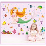 Stenske Nalepke za Otroke - Morska Deklica - 50x70 cm - XL7036 - 7082