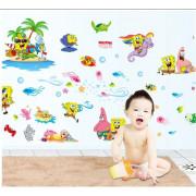 Stenske Nalepke za Otroke - Sponge Bob - 60x90 cm - DF9909