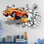 Stenske Nalepke za Otroke - Goreči Avtomobil - 50x70 cm - S00044