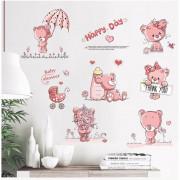 Stenske Nalepke za Otroke - Medvedek Happy DAY - 50x70 cm - FX7506