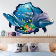 Stenske Nalepke za Otroke - Ocean - Delfinčki - 60x90 cm - XH9215