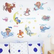Stenske Nalepke za Otroke - Medvedek z Prijatelji Lahko noč - 50x70 cm - HM71012