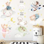 Stenske Nalepke za Otroke - Medvedek in Prijatelji - Follow your Dream - 60x90 cm - SF0192