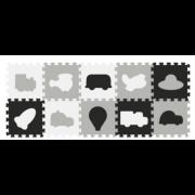 Igralna podloga iz pene Baby Ono Puzzle vozila 10 kos - 394/02  - Sivo bela Črna