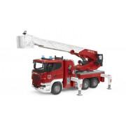 Gasilski kamion + lestev - Bruder Scania R z vodno črpalko in modulom svetlobnega zvoka