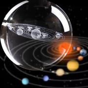 Kristalna Krogla 3D - 80 mm z LED Lesenim podstavkom - Solarni Sistem