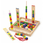 VIGA Drewniana Gra edukacyjna Logiczne koraliki 104 elementy - 56182 - Viga Toys