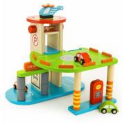 Lesena dvostopenjska garaža. Parkirišče. 3 avtomobili. Helikopter. Dvigalo - 59963 - Viga Toys