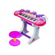 Klavir + stolček z mikrofonom USB - Roza -3466