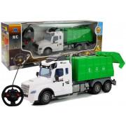 Smetarski kamion na daljinsko vodenje - BELO ZELEN 37 cm x 15 cm x 8 cm -4623