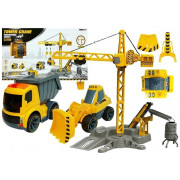 Velik gradbeni set vozil + Žerjav - R/c-4853