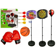 Komplet športnih iger 3 v 1 - košarka, pikado in boksarska vreča-4880
