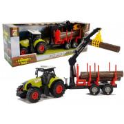 Traktorska + gozdna prikolica z lesom 5847