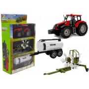 Traktor s prikolico, grablje in rdečo cisterno -5851