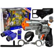 Komplet policijske pištole, lisice, daljnogled z piščalko za uro  -7864