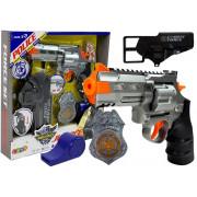 Policajski set Revolver 20cm + Značka + piščal z zvočnimi efekti  -7868