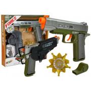 Set policijske pištole 20 cm - Značka -Piščalka Kubura Svetlobni efekti -7869