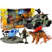 Svet Dinozavrov set figuric + helikopter + avto -7885