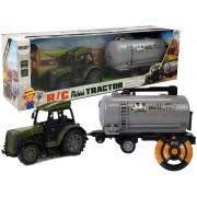 Zeleni traktor na daljinsko voedenje + prikolico za cisterne za mleko2.4G -8430