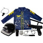 Komplet oblek za preobleko v policista za otroka Čelada Pištola Lisice Walkie-talkie -8466