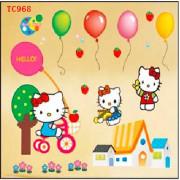 Stenske Nalepke za Otroke - Hello Kitty - TC968 - 33x60cm
