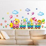 Stenske Nalepke za Otroke - Vlakec z Živalicami - 24x42cm - XY3013