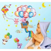 Stenske Nalepke za Otroke - Prisrčne Živalice z Baloni - 45x60 cm - XL6043