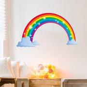 Stenske Nalepke za Otroke - Mavrica nad Oblaki - 40x60 cm - 64166