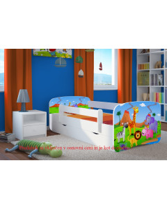 Otroška Posteljica AllMeble-Baby Dreams - NOV MODEL - 140x70 cm - Safari Prijatelji 2