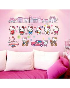 Stenske Nalepke za Otroke - Hello Kitty 2 - 60x90 cm - DF9908