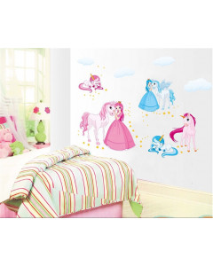 Stenske Nalepke za Otroke - Princeske z Končki - Modro-Roza - 50x70 cm - JM8362