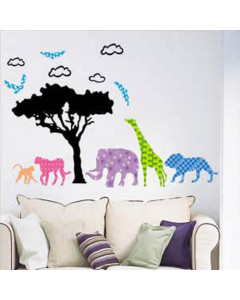 Stenske Nalepke za Otroke - Afriške Živali - LB1616 - 60x33
